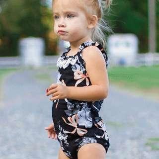 🚚 ✔️STOCK - WHITE FLOWER RIBBON BLACK FLORAL ROMPER NEWBORN BABY TODDLER GIRL ONESIE KIDS CHILDREN CASUAL CLOTHING