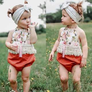 🚚 ✔️STOCK - WHITE FLORAL TOP ORANGE BOTTOM HALTER NECK ROMPER NEWBORN BABY TODDLER GIRL ONESIE KIDS CHILDREN CASUAL CLOTHING