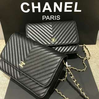 Chanel Chevron WOC Black