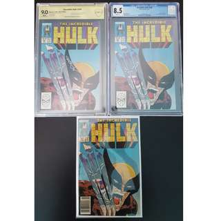 "Another Perfect Gift for Boyfriend. Incredible Hulk#340,#340 CGC 8.5,#340 CBCS 9.0SS (1988, 1st Series) Set of 3,Todd McFarlane's Awesome Hulk! Hulk VS Wolverine Classic Slugfest!! Signed by Bob Wiacek!!! ""One To Read,One To Keep,One To Show-Off"" Series."