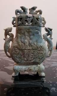 Carved ancient jadeite vase with lid  古玉