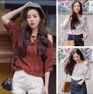 White Korean Style Short Sleeves Blouse