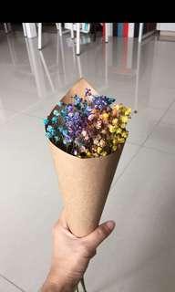 Dried baby breath flower bouquet