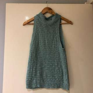 Blue knit top high neck size 6