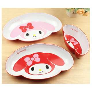 MY MELODY PLATE N BOWL*RED N PINK*TIBIT*NOODLE*MALAMINE WARE*BIG*ABS*BPA*ORIGINAL
