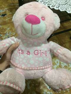 "Pink ""it's a girl"" Bear"