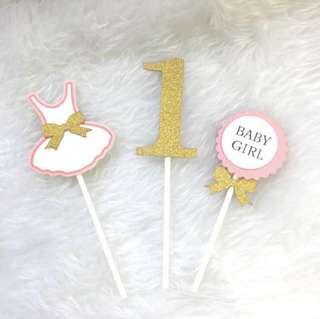 Baby Girl 1 Year Old Birthday Cake Cupcake Toppers Topper Baby Shower Decoration Happy Party