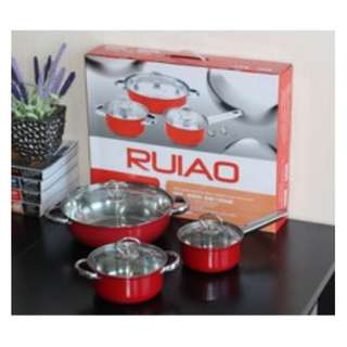 6pc stainless Steel Pot (RED)