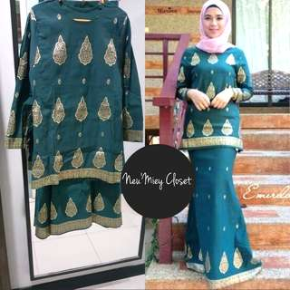 INSTOCK Kurung Green Saree Songket Set