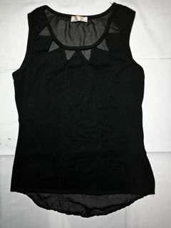 Black sleeveless top with diamond lining