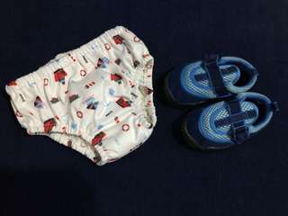 (1-2+ yrs old) Charlie Banana swimming trunks + Fisher Price aqua shoes