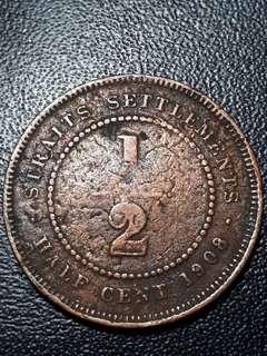 1908 Straits Settlement 1/2 Cent Bronze Coin