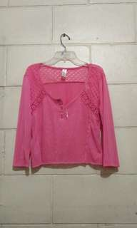 Pink long sleeves crop top