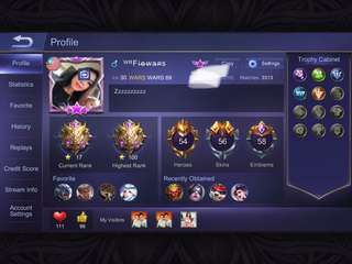 Mobile legend ios account for sale emblem 58 wr cantik