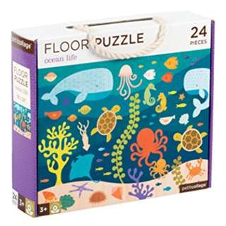 PRE-ORDER: Petit Collage Floor Puzzle, Ocean Life Friends, 24 pieces