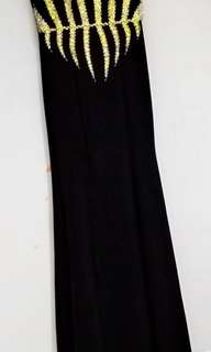 Long gown Black and Gold Combination