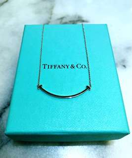 "Tiffany T smile pendant in 18k white gold, mini on a 16"" chain necklace"