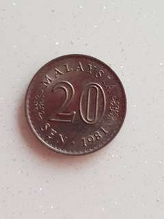 Malaysia old 20 cents