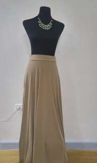 Beige Maxi Skirt with side slit