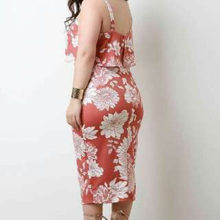 3D FLORAL open shoulder plus size dress