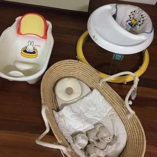 Baby Walker bath tub and Moses basket bed