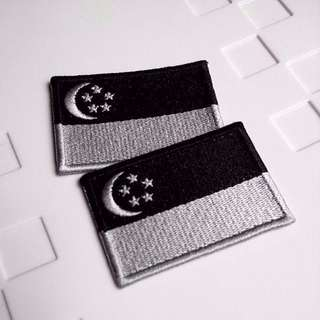 Singapore Black White Flag Insignia Tactical Iron On Patch Majulah!!