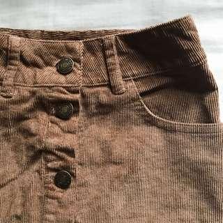 BNWT brown corduroy button-up skirt