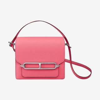 ✨剛6月買入! 🦄Hermes✨🌸Roulis Mini Rose azalée 8w 玫瑰桃紅 Evercolour皮 銀扣 C年 $59500