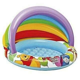 🚚 迪士尼小熊維尼 inetx 嬰幼兒彩虹游泳池 遮陽戲水池 球池 游泳池 氣墊底 玩水