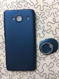 寶石藍紅米2手機殻 送同色支架