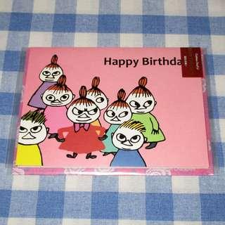 日本正版 Moomin 姆明 小肥肥一族 阿美 生日咭 賀卡