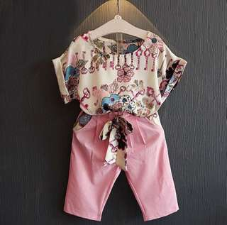 RM35 BABY GIRL SHORT SLEEVE FLORAL TOP+PANTS SET