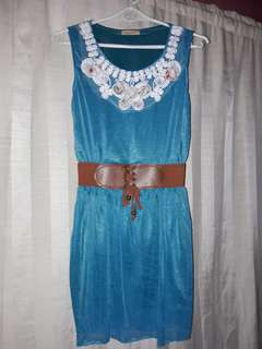 SLEEVELESS TEAL DRESS