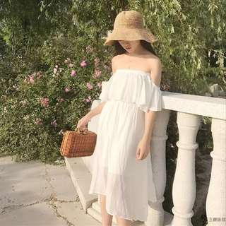 White dress with off shoulder