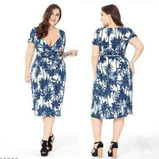 🍃Blue Leafy Elegant Plus Size Dress