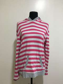 Pink and White Stripes Hoodie