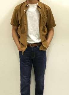 🚚 🔥🔥MUJI無印良品牛津布扣領短袖襯衫🔥🔥尺寸M