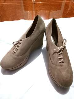 light brown wedge ankle shoes