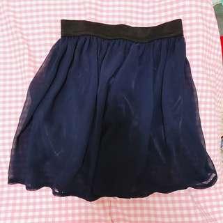深藍雪紡短裙