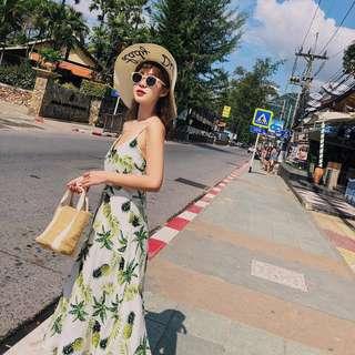 🚚 夏日度假繽紛鳳梨好感露背長洋裝 dress