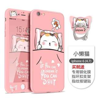 iPhone Screen protector + button sticker + back case + ring