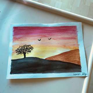 Watercolour Painting Card - Sunset