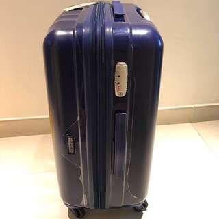 American Tourister 全新藍色拉鍊65cm(25.5吋) 四輪行李箱連套