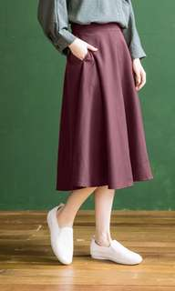 簡約素面紅色中長裙