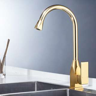 Gold kitchen Vertical faucet 100% Brass Single Handle Hot Cold Water Basin Tap