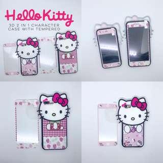 Hello kitty Character Case with Tempered iPhone 5 5s se 6 6s Plus 6+ 6s+ 7 8 7+ 8+ X Samsung J7 Prime Plus Vivo V5 V5s V7 V7+ Oppo F3 F1s F5 Huawei Nova 2i