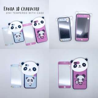 Panda Character Case with Tempered iPhone 5 5s se 6 6s Plus 6+ 6s+ 7 8 7+ 8+ X Samsung J7 Prime Plus Vivo V5 V5s V7 V7+ Oppo F3 F1s F5 Huawei Nova 2i