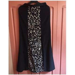 Black Leopard Skirt With Slit