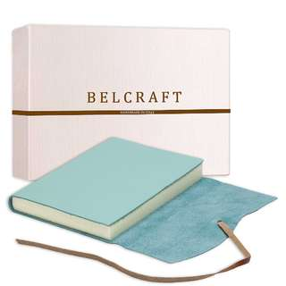 49.Capri Large Leather Journal / Notebook, Handmade Classic Italian Style, Including Special Box, A5 (15x21 cm) Aqua