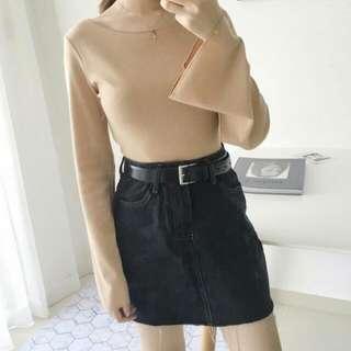 Korean Beige Knitted Belle Sleeve Top